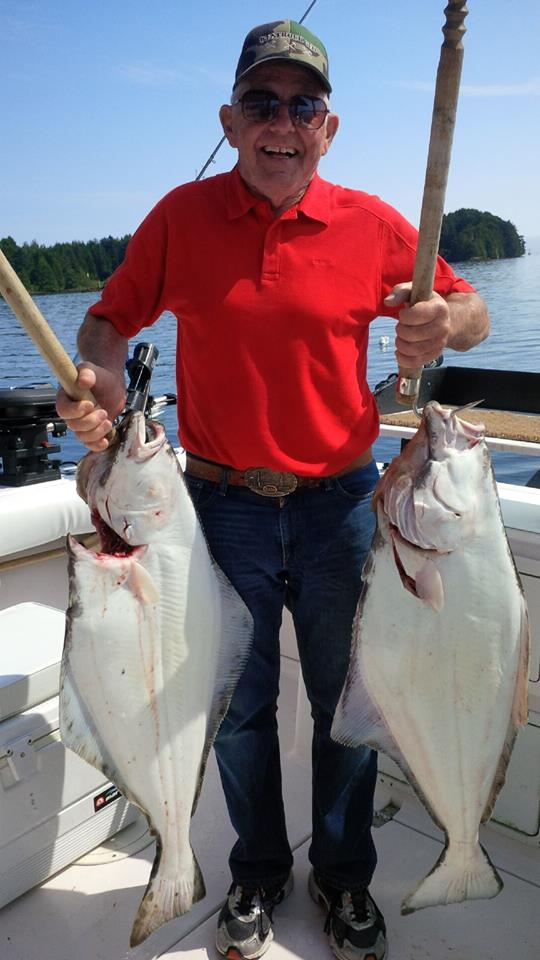 ralph grant with his halibut with Hot Pursuit Charters